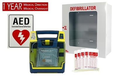 Cardiac Science Semi-Automatic Business AED Pkg w/ AED, medical direction, sign, tags, and cabinet