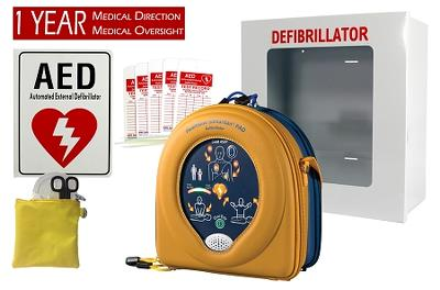 HeartSine 450P Business Pkg AED, case, response kit, 1-yr med dir, cabinet, sign, tags