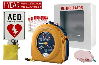 HeartSine 450P School Pkg AED, case, PED PADS response kit, 1-yr med dir, cabinet, sign, tags