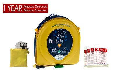 HeartSine Business Pkg w/Samaritan PAD AED, case, response kit, 1-yr med direction, check tags