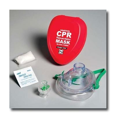 Adult Resuscitator Mask with Oxygen Inlet & Gloves & Wipe in Hard Case