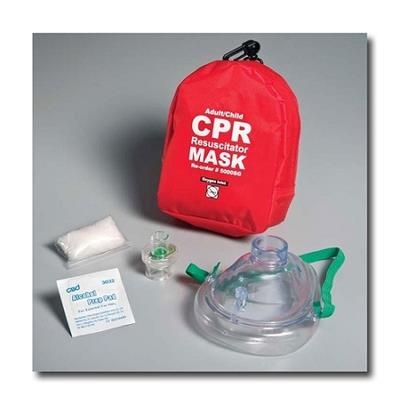 Adult Resuscitator Mask with Oxygen Inlet & Gloves & Wipe in Soft Case