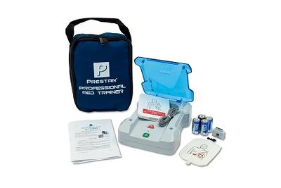 Prestan Professional AED Trainer with English/Spanish,  adult training pads, nylon carrying case.